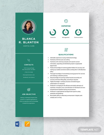 Hospital Clerk Resume Template