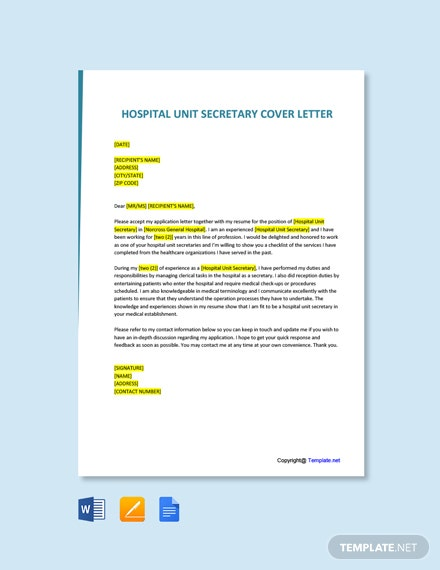 Free Hospital Unit Secretary Cover Letter Template
