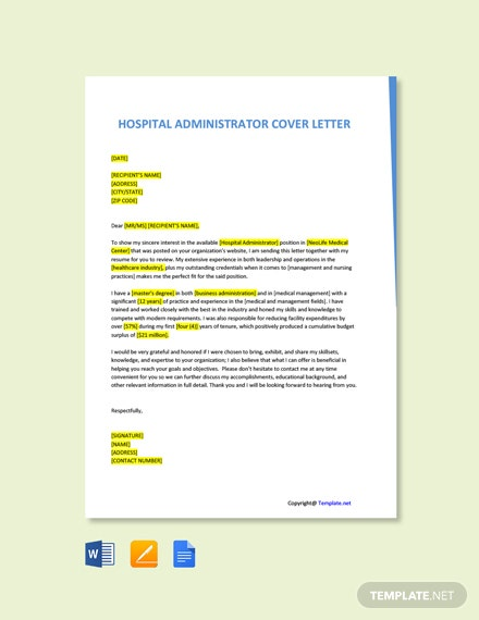 Free Hospital Administrator Cover Letter Template
