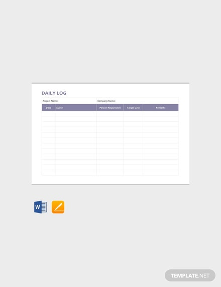Free Daily Log Template