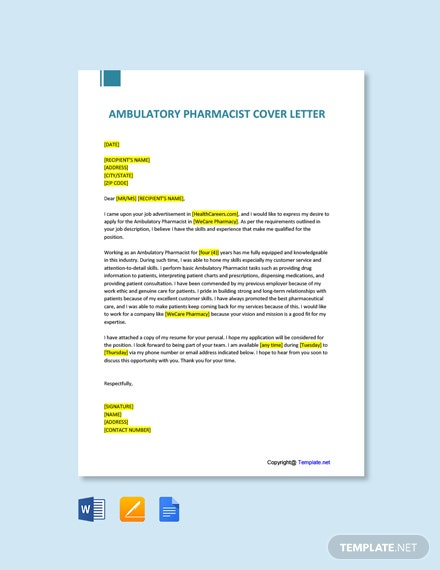 Free Ambulatory Pharmacist Cover Letter Template