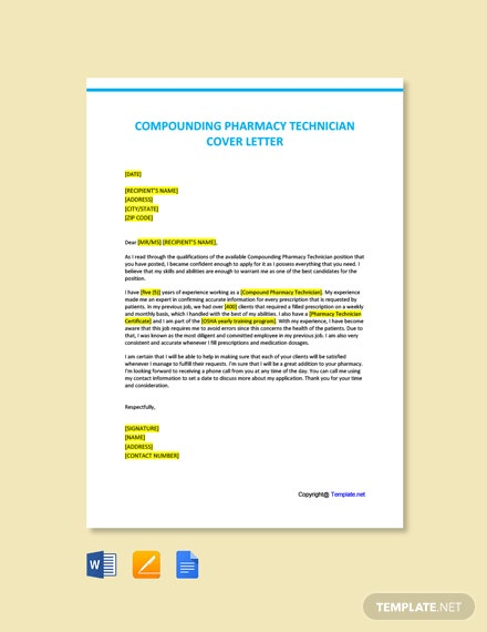 Free Compounding Pharmacy Technician Cover Letter Template