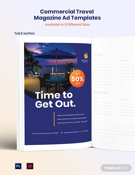 Commercial Travel Magazine Ads Template