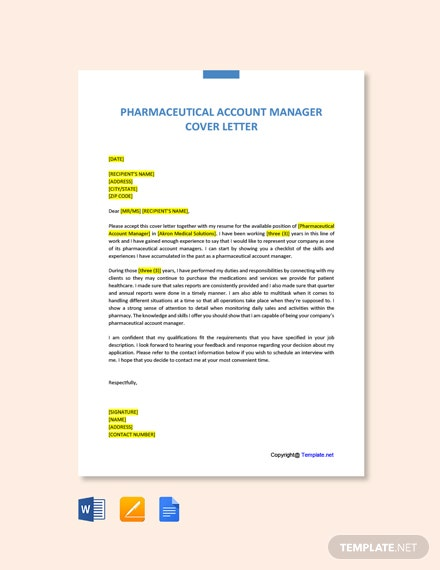 Free Pharmaceutical Account Manager Cover Letter Template