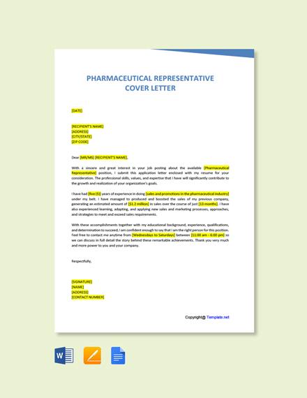 Free Pharmaceutical Representative Cover Letter Template