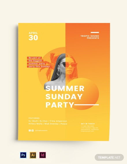 Free Creative Summer Sunday Party Flyer Template