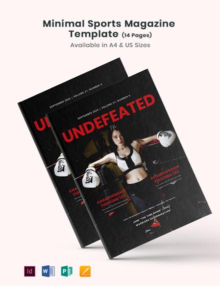 Free Minimal Sports Magazine Template