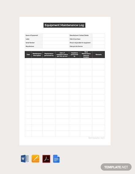 Free Maintenance Log Template