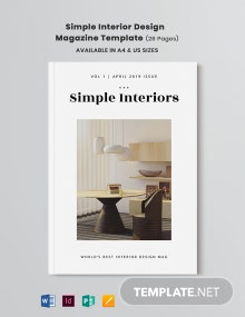 Free Simple Interior Design Magazine Template