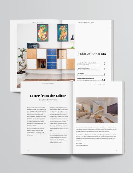 Simple Interior Design Magazine Template