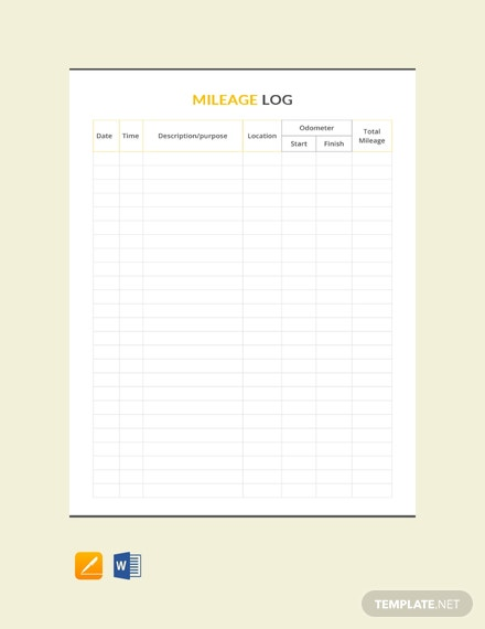 Free Mileage Log Template