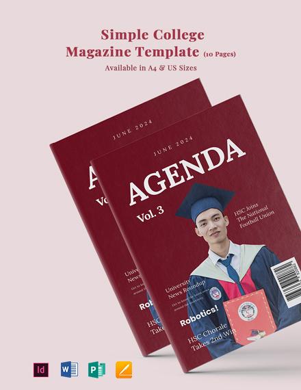 Free Simple College Magazine Template