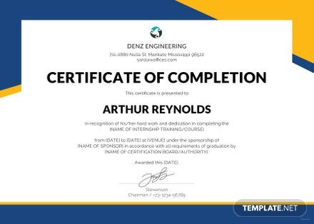 Free Engineering Internship Certificate Template Free Templates