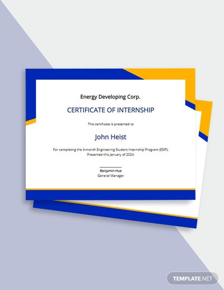 Free Engineering Internship Certificate Template