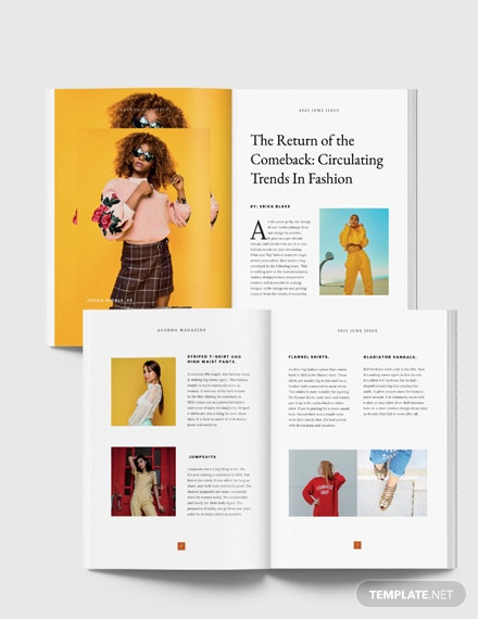Free Printable Fashion Magazine Template Indesign Microsoft Word Publisher Apple Pages Template Net