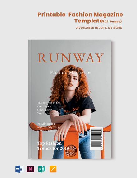 Free Printable Fashion Magazine Template