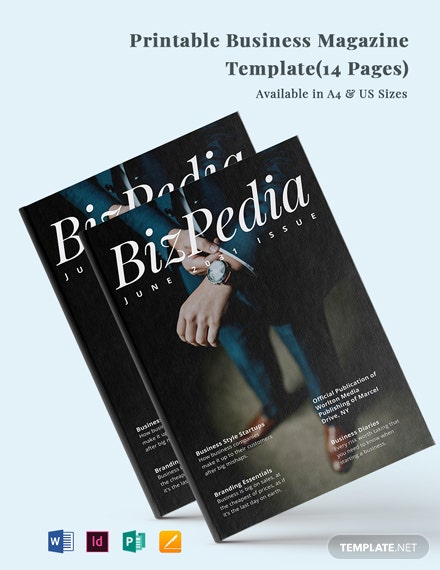 Free Printable Business Magazine  Template