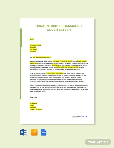Free Home Infusion Pharmacist Cover Letter Template
