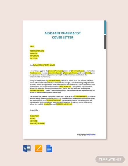 Free Assistant Pharmacist Cover Letter Template
