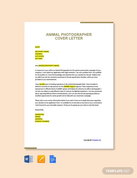 Free Animal Photographer Cover Letter Template