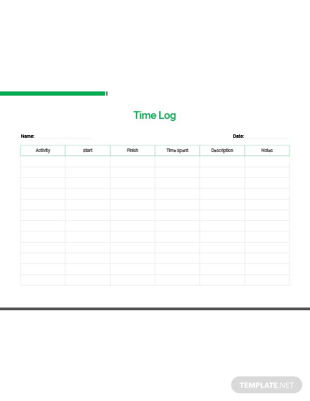 Free Time Log Template