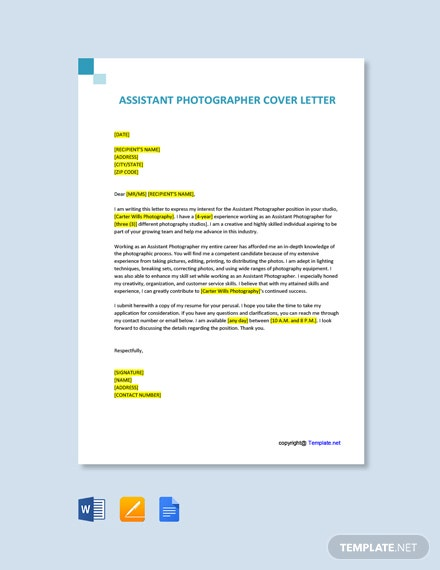 Free Assistant Photographer Cover Letter Template