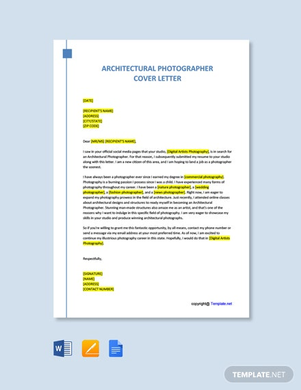 Free Architectural Photographer Cover Letter Template