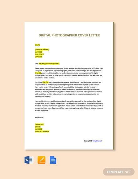 Free Digital Photographer Cover Letter Template