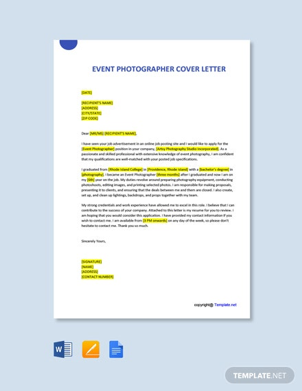Free Event Photographer Cover Letter Template