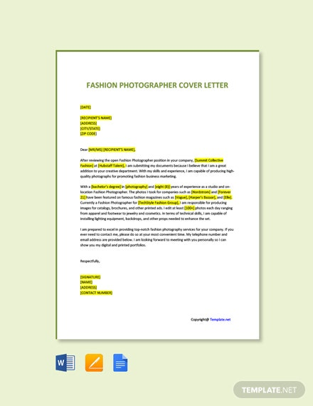 Free Fashion Photographer Cover Letter Template