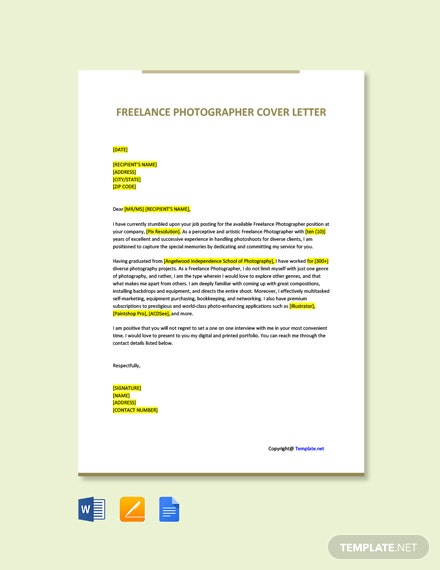 Free Freelance Photographer Cover Letter Template