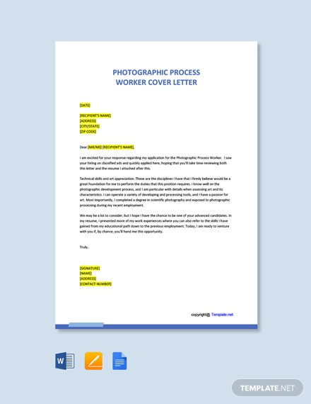 Free Photographic Process Worker Cover Letter Template