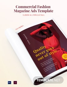 Free Commercial Fashion Magazine Ads Template