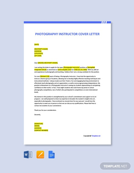 Free Photography Instructor Cover Letter Template