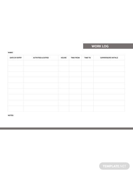 Free Work Log Template