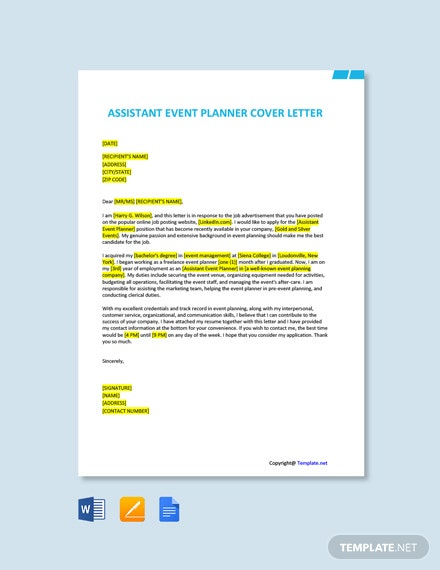 Free Assistant Event Planner Cover Letter Template