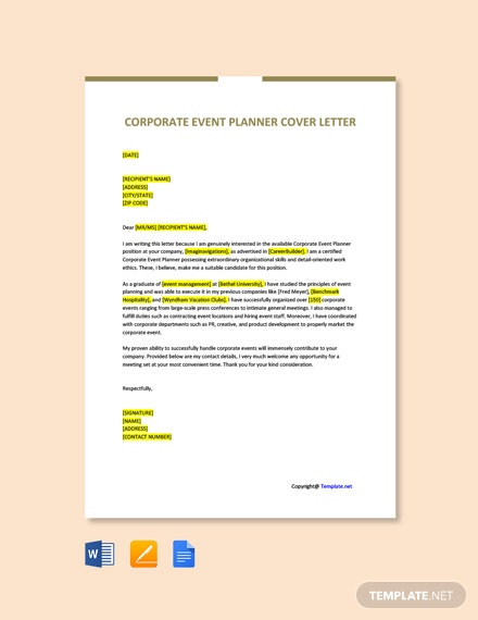 Free Corporate Event Planner Cover Letter Template