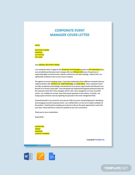 Free Corporate Event Manager Cover Letter Template