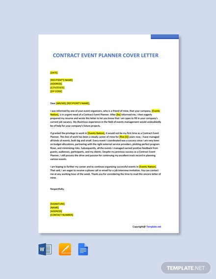 Free Contract Event Planner Cover Letter Template