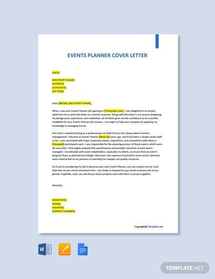 Free Events Planner Cover Letter Template