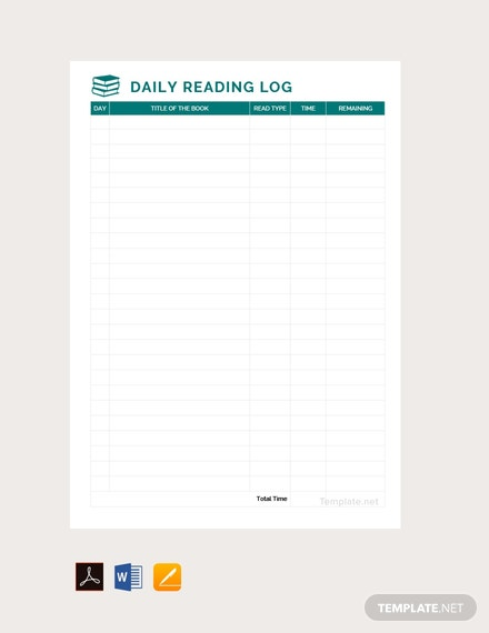 Free Daily Reading Log Template