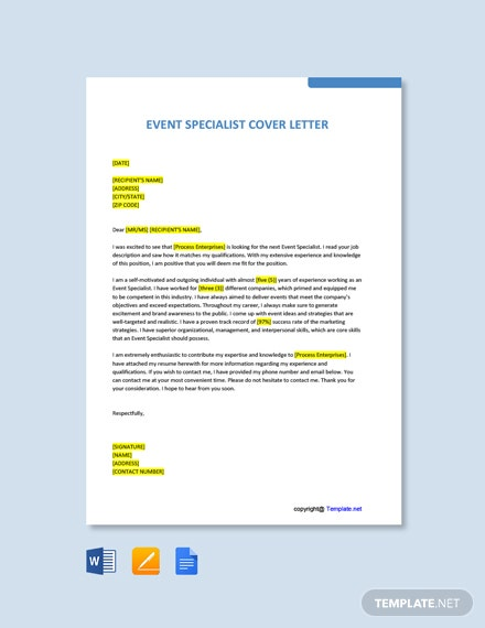 Free Event Specialist Cover Letter Template