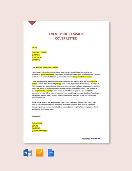 Event Programmer Cover Letter