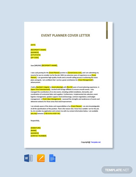 Free Event Planner Cover Letter Template
