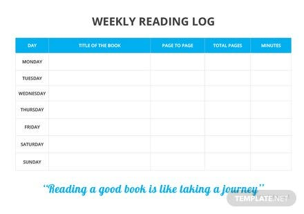 Weekly Reading Log Template