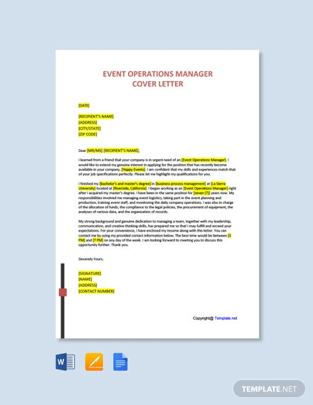 Free Event Operations Manager Cover Letter Template