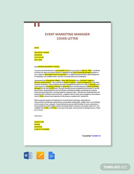 Free Event Marketing Manager Cover Letter Template
