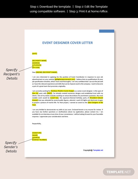 Event Designer Cover Letter Template
