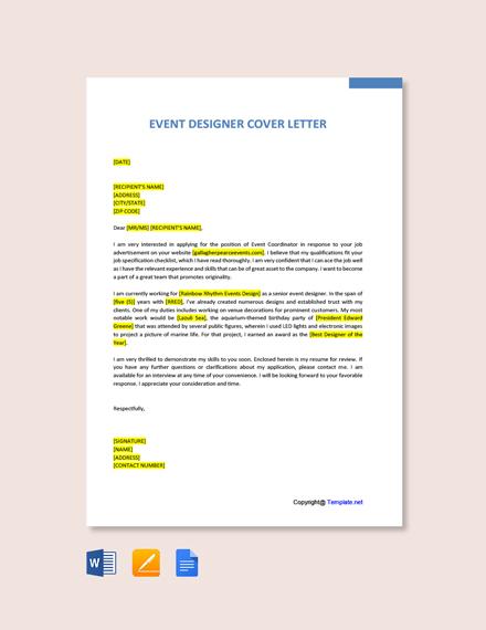 Event Designer Cover Letter