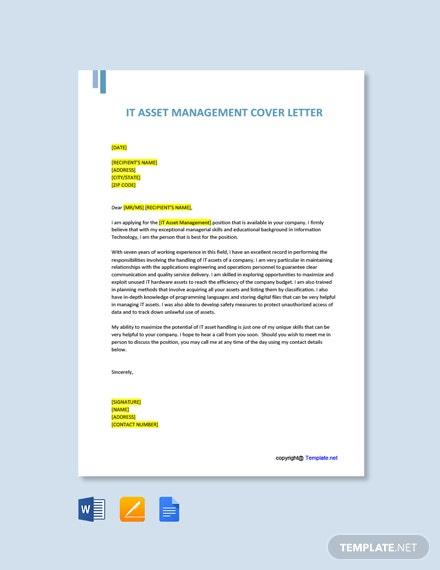 Free IT Asset Management Cover Letter Template
